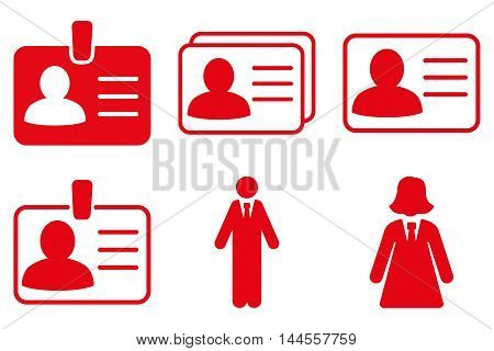 Person Account Card vector icons. Pictogram style is red flat icons with rounded angles on a white background.