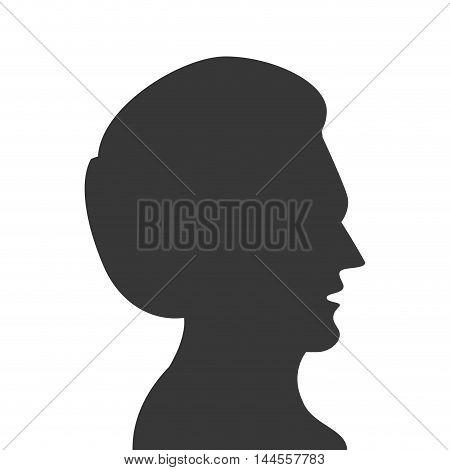 flat design man head profile silhouette icon vector illustration