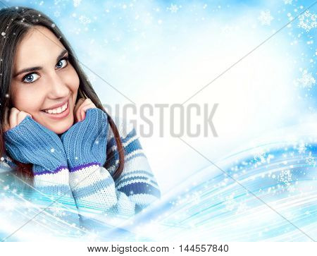 smiling woman wearing sweater, on winter  background