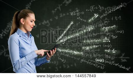 Young woman using calculator over design background