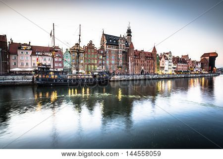 GdanskPoland-September 192015: old town and famous crane Polish Zuraw. View from Motlawa river