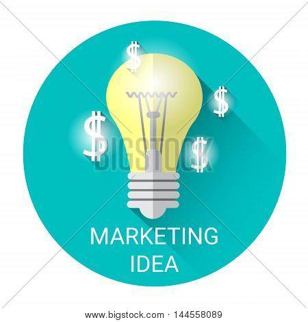 New Marketing Idea Business Economy Icon Flat Vector Illustration