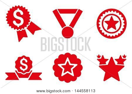 Reward vector icons. Pictogram style is red flat icons with rounded angles on a white background.