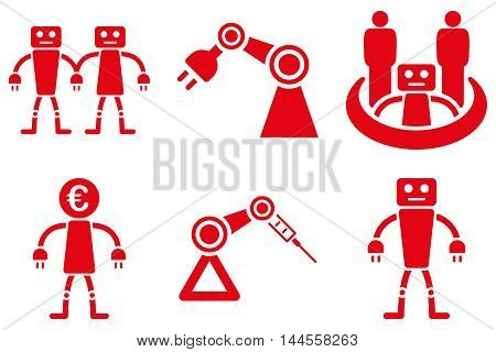 Robotics vector icons. Pictogram style is red flat icons with rounded angles on a white background.