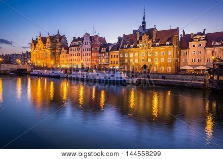 GdanskPoland-September 192015:The old town in Gdansk at dusk