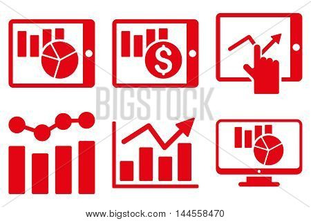 Sales Charts vector icons. Pictogram style is red flat icons with rounded angles on a white background.