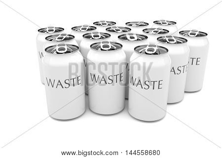 Waste: White Aluminum Beverage Cans Isolated On A White Background 3d illustration