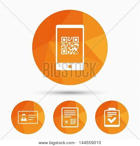 QR scan code in smartphone icon. Boarding pass flight sign. ID card badge symbol. Check or tick sign. Triangular low poly buttons with shadow. Vector