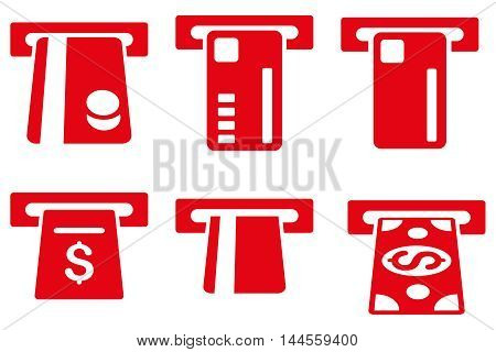 Ticket Terminal vector icons. Pictogram style is red flat icons with rounded angles on a white background.
