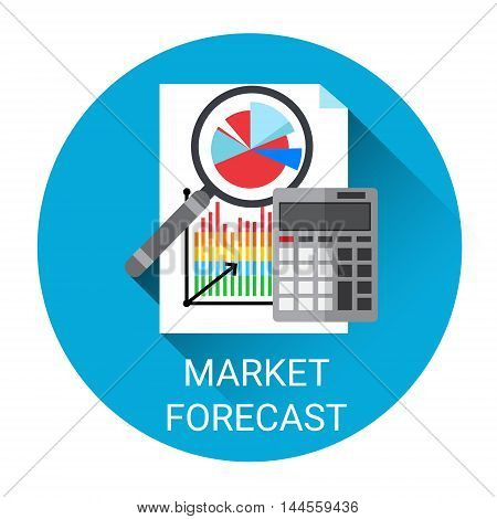 Market Forecast Business Economy Icon Flat Vector Illustration