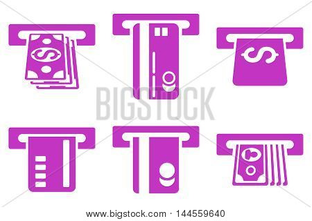 ATM Bank Cashout vector icons. Pictogram style is violet flat icons with rounded angles on a white background.