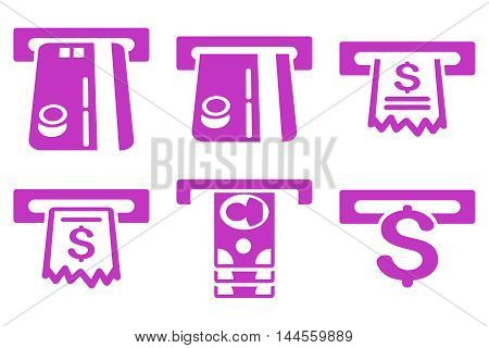 ATM Slot vector icons. Pictogram style is violet flat icons with rounded angles on a white background.