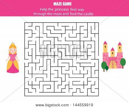 Maze children game: help the princess go through the labyrinth and find the castle