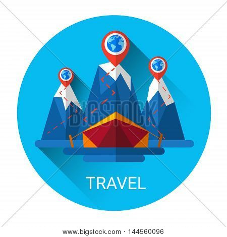 Camping Tent Travel Tourism Icon Flat Vector Illustration