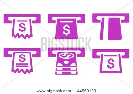 Automated Cashier vector icons. Pictogram style is violet flat icons with rounded angles on a white background.