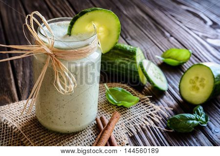 Cucumber Smoothie With Basil And Yoghurt