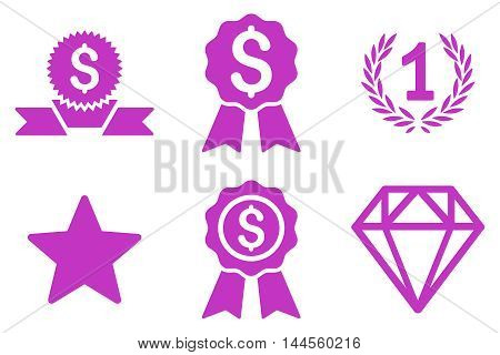 Award vector icons. Pictogram style is violet flat icons with rounded angles on a white background.