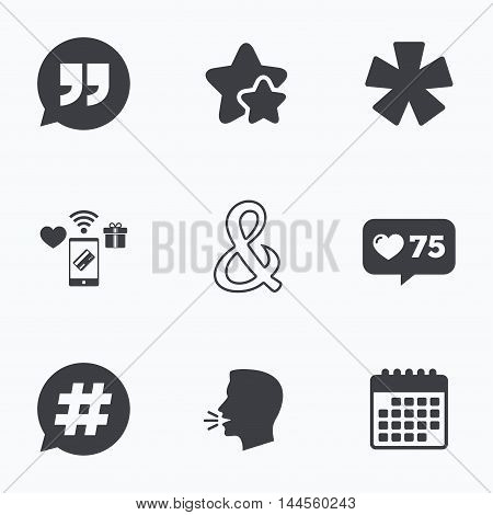 Quote, asterisk footnote icons. Hashtag social media and ampersand symbols. Programming logical operator AND sign. Speech bubble. Flat talking head, calendar icons. Stars, like counter icons. Vector