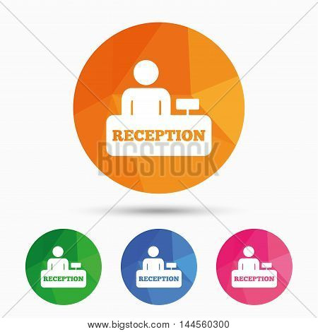 Reception sign icon. Hotel registration table with administrator symbol. Triangular low poly button with flat icon. Vector