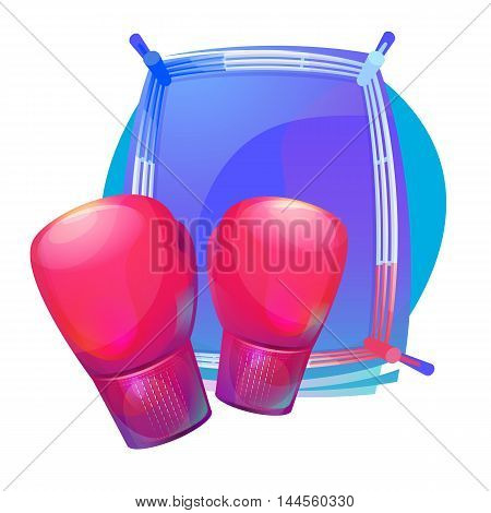 Boxing protective gloves on top of ring with corners. Combat and martial arts, professional and amatuer sport equipment or gear. Can be used for tournament and championship theme