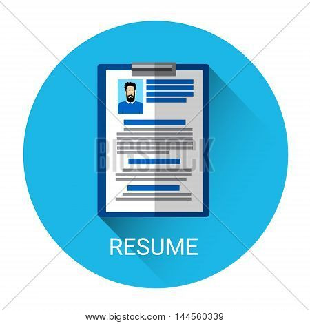 Curriculum Vitae Recruitment Candidate Document Icon Flat Vector Illustration