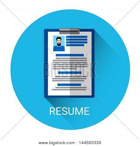 Curriculum Vitae Recruitment Candidate Document Icon Flat Vector Illustration