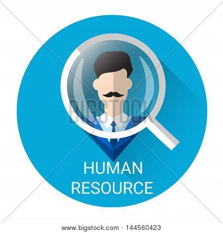 Human Resource Magnifying Glass Picking Business Person Candidate Icon Flat Vector Illustration