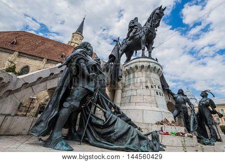 Matthias Corvinus Monument in front of St. Michael's Church in Cluj-Napoca city in Romania