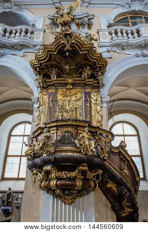 Pulpit in Church of The Holy Trinity in Cluj-Napoca city in Romania