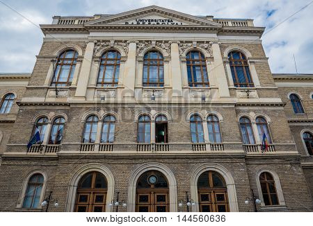 Babes-Bolyai University main building in Cluj-Napoca city in Romania