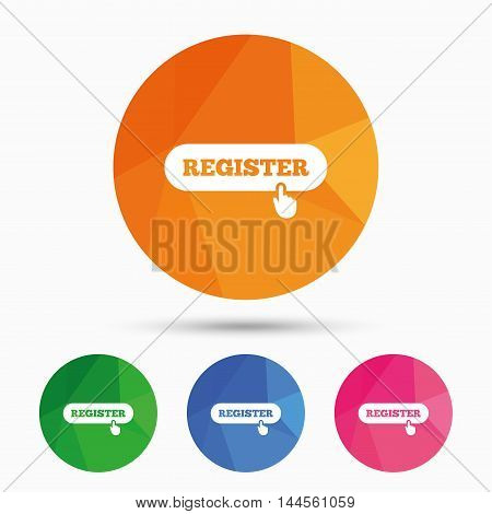 Register with hand pointer sign icon. Membership symbol. Website navigation. Triangular low poly button with flat icon. Vector