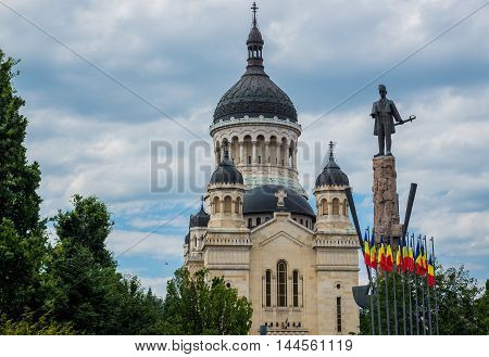 Avram Iancu statue in front of Dormition of the Theotokos Cathedral in Cluj-Napoca city in Romania
