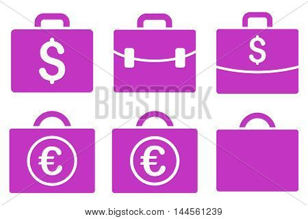 Business Case vector icons. Pictogram style is violet flat icons with rounded angles on a white background.