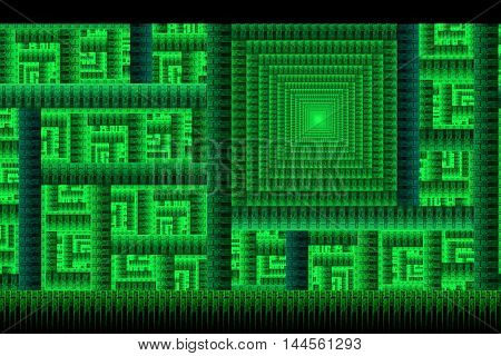 Abstract detailed geometrical ornament on black background. Fantasy fractal design in abstract emerald green square colors.
