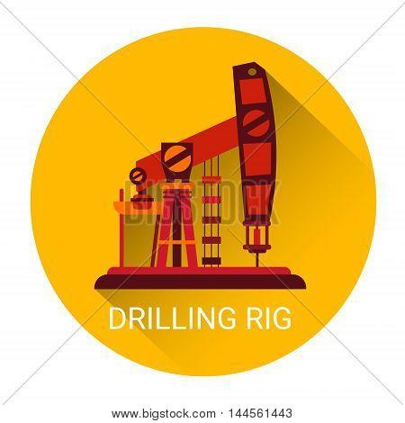 Pumpjack Oil Rig Crane Icon Flat Vector Illustration