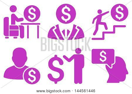 Businessman vector icons. Pictogram style is violet flat icons with rounded angles on a white background.