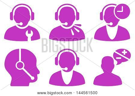 Call Center Operator vector icons. Pictogram style is violet flat icons with rounded angles on a white background.