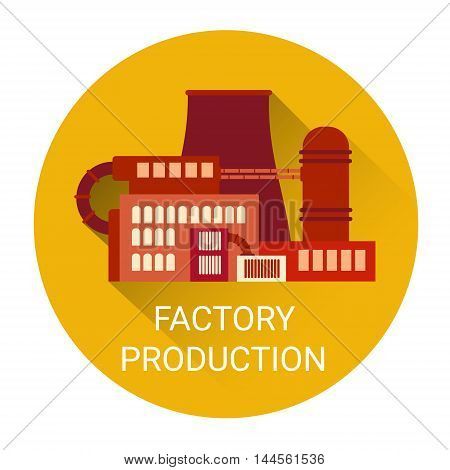 Factory Production Plant Icon Flat Vector Illustration