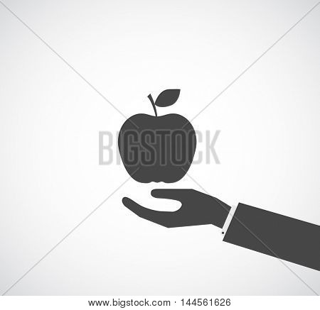 hand with apple icon