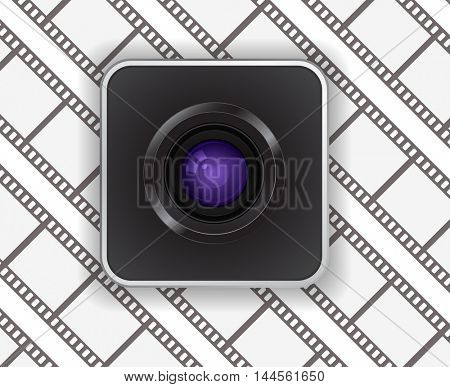 photo camera lens icon on film strip background