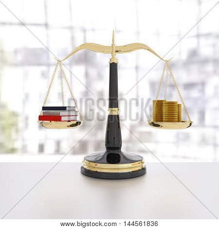 3D rendering of a balanced scale of educaiton and money knowledge is power