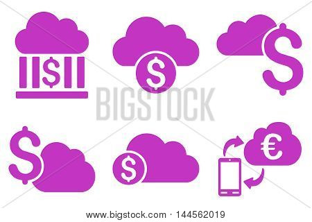 Cloud Banking vector icons. Pictogram style is violet flat icons with rounded angles on a white background.