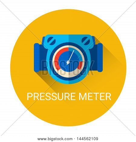 Pressure Meter Icon Colorful Flat Vector Illustration