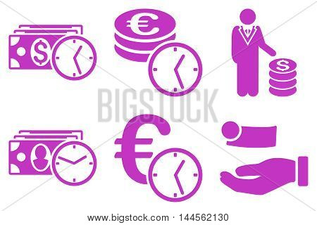 Credit vector icons. Pictogram style is violet flat icons with rounded angles on a white background.