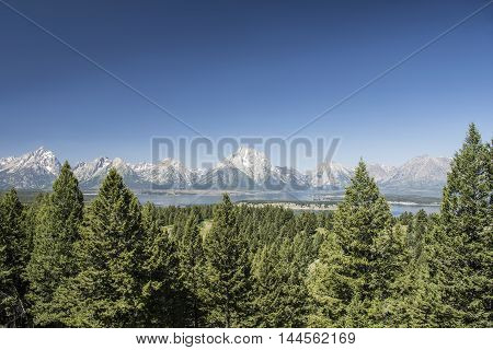 View of the Grand Tetons (Wyoming USA) from Signal Mountain with Jackson Lake in front.