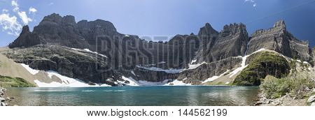 Panoramic View of Iceberg Lake in Glacier National Park Montana United States.