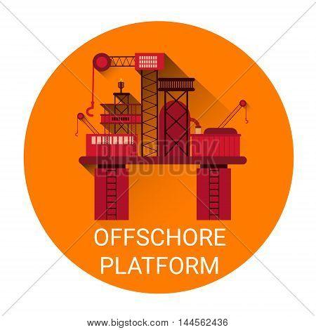 Offshore Platform Orange Icon Flat Vector Illustration