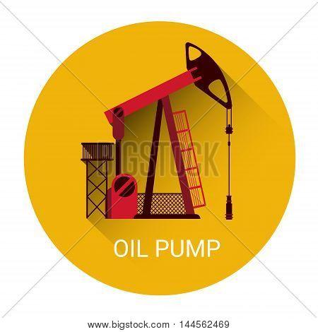 Oil Pump Rig Crane Icon Flat Vector Illustration
