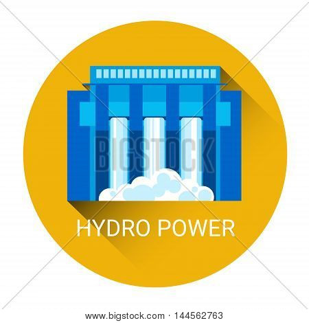 Hydro Power Station Icon Flat Vector Illustration