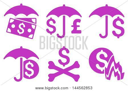 Financial Umbrella vector icons. Pictogram style is violet flat icons with rounded angles on a white background.